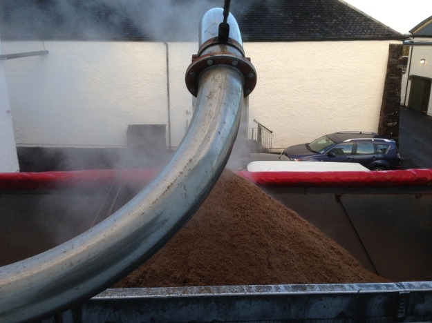 Lorry outside receiving used barley after mash tun. it's hot stuff!