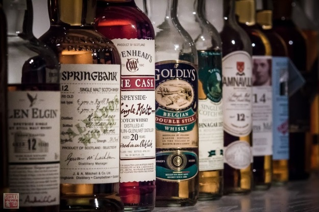 Some of the whiskies served at the VIP Lounge