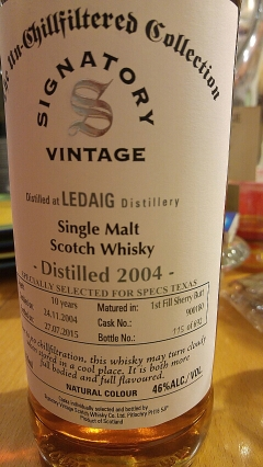 Ledaig 20014 10yo for specs texas
